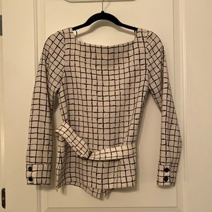 Checkered belted top